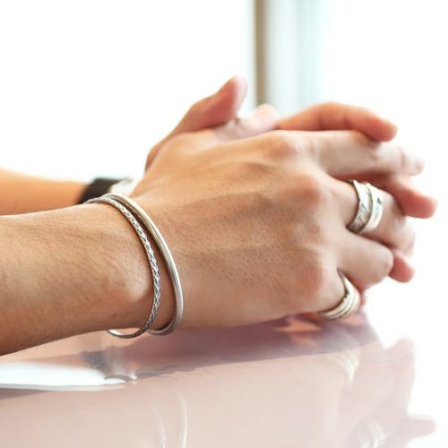 【JAM HOME MADE(ジャムホームメイド)】リアルダイヤモンド ペア バングル -SILVER- / ブレスレット メンズ レディース 人気 ブランド シンプル ダイヤモンド ギフト