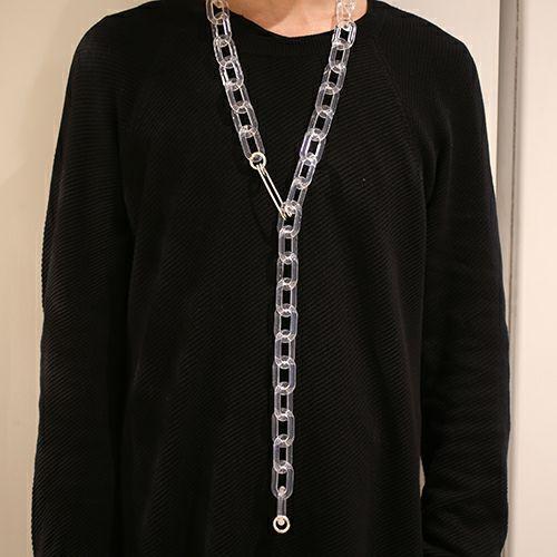 """ネックレス / """"ア"""" からクラシックピンネックレス XL メンズ ブランド シルバー プレゼント シンプル チェーン ネックレス ボリューム 安全ピン"""