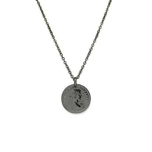 ネックレス / シックスペンスコインネックレス メンズ シルバー ブラック 人気 ブランド おすすめ 硬貨 本物 プレゼント 誕生日 ギフト
