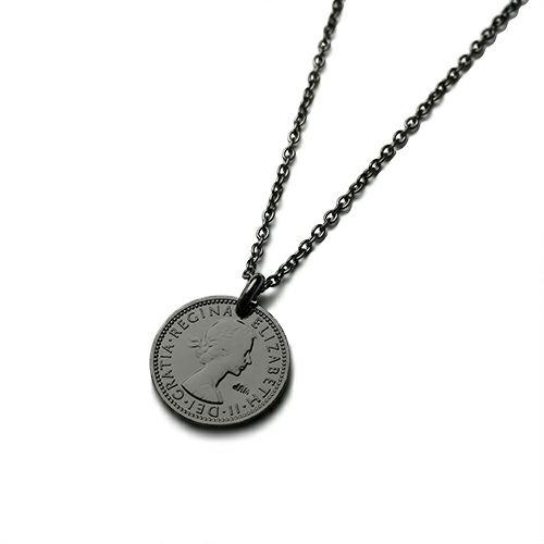 【ジャムホームメイド(JAMHOMEMADE)】コイン ネックレス ヴィンテージ シックスペンスコイン - ブラック