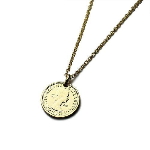 【ジャムホームメイド(JAMHOMEMADE)】コイン ネックレス ヴィンテージ シックスペンスコイン - ゴールド