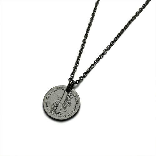 ネックレス / ヴィンテージ マーキュリーコインネックレス  メンズ シルバー ブラック 人気 ブランド おすすめ 硬貨 本物 プレゼント 誕生日 ギフト