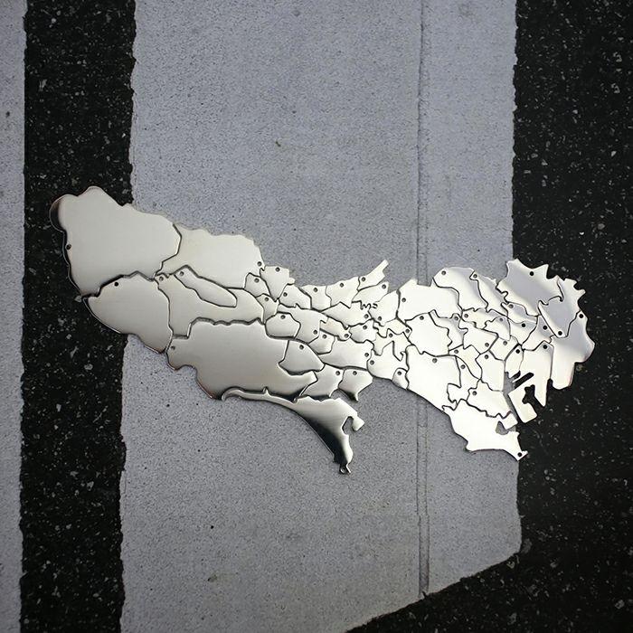 日本地図  東京都  八王子市ネックレス