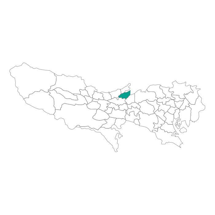 日本地図  東京都  東久留米市ネックレス