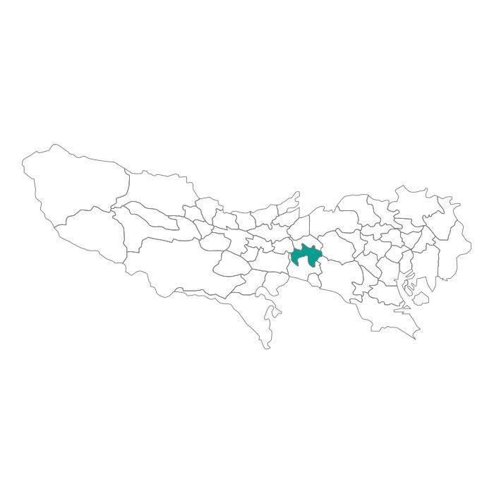 日本地図  東京都  三鷹市ネックレス