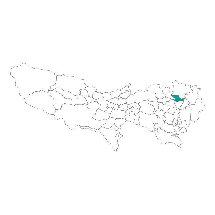 日本地図  東京都  荒川区ネックレス
