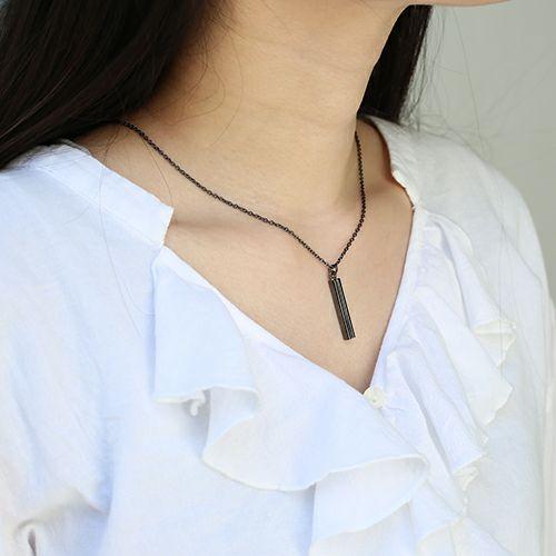 ネックレス / B型 スティックネックレス BLACK -NEW TYPE- メンズ レディース ペア シルバー ダイヤモンド 人気 ブランド おすすめ 血液型 誕生日 プレゼント クリスマス シンプル