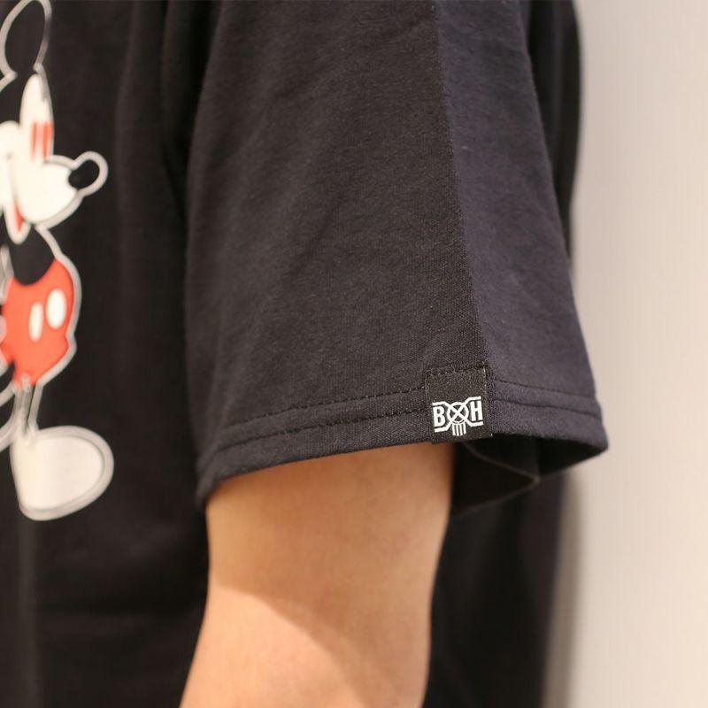 衣料品トップス / バウンティーハンター / BOUNTY HUNTER ラブ ミッキー Tシャツ / BLACK ディズニー コラボ 人気 おすすめ ブランド 黒 ブラック メンズ レディース ユニセックス ペア ハート  ロゴ