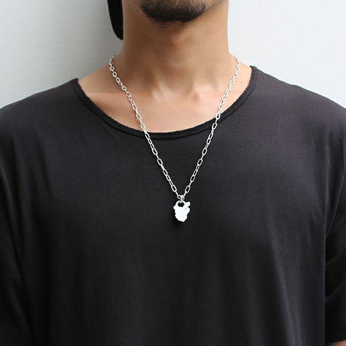 【ジャムホームメイド(JAMHOMEMADE)】ストーンスタチュー ネックレス ホワイト -MOUTH-