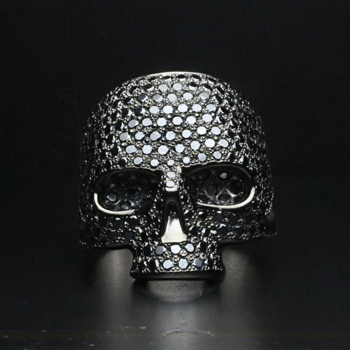 スカルリング パヴェ -BLACK- / 指輪
