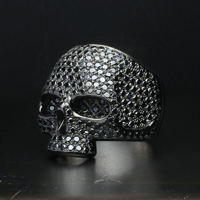 指輪 / マスタースカルリング パヴェ -BLACK- 人気 ブランド おすすめ メンズ シルバー 925 ドクロ おしゃれ ジルコニア デザイン ごつい ガイコツ ゴージャス