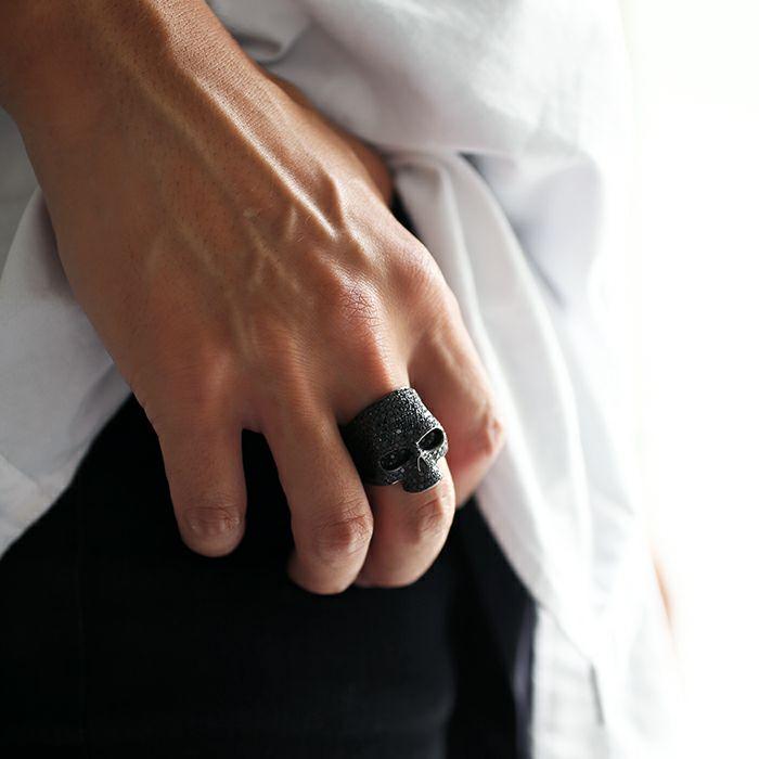 【JAM HOME MADE(ジャムホームメイド)】マスタースカルリング パヴェ -BLACK- / 指輪 人気 ブランド おすすめ メンズ シルバー 925 ドクロ おしゃれ ジルコニア デザイン ごつい ガイコツ ゴージャス