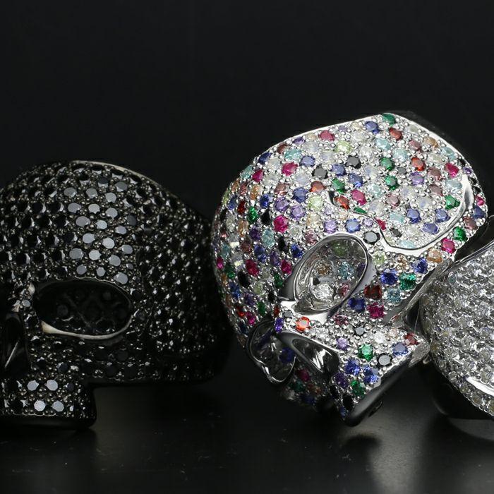 指輪 / マスタースカルリング パヴェ -SILVER- 人気 ブランド おすすめ メンズ シルバー 925 ドクロ おしゃれ ジルコニア デザイン ごつい ガイコツ ゴージャス