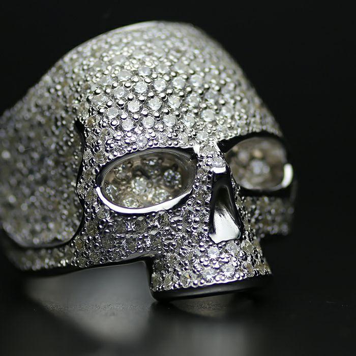【JAM HOME MADE(ジャムホームメイド)】マスタースカルリング パヴェ -SILVER- / 指輪 人気 ブランド おすすめ メンズ シルバー 925 ドクロ おしゃれ ジルコニア デザイン ごつい ガイコツ ゴージャス