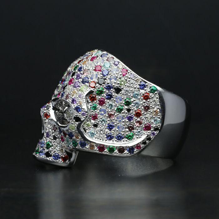 指輪 / ゴッドスカルリング パヴェ -SILVER- 人気 ブランド おすすめ メンズ シルバー 925 ドクロ おしゃれ ジルコニア デザイン ごつい ガイコツ ゴージャス