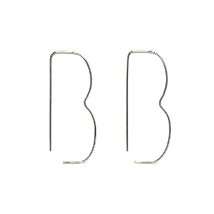【JAM HOME MADE(ジャムホームメイド)】B型 アメリカンフープピアス -NEW TYPE- / 両耳 レディース プラチナ 血液型 アクセサリー 人気 ブランド おすすめ 誕生日 ギフト プレゼント 大ぶり
