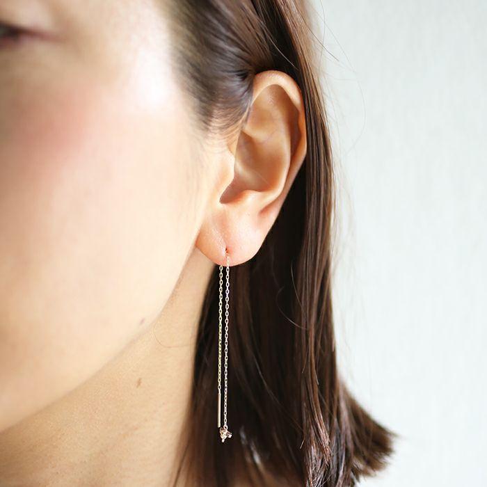 ピアス / AB型 アメリカンチェーンピアス -NEW TYPE- / 両耳 レディース 十金 K10 血液型 アクセサリー 人気 ブランド おすすめ 誕生日 ギフト プレゼント 大ぶり
