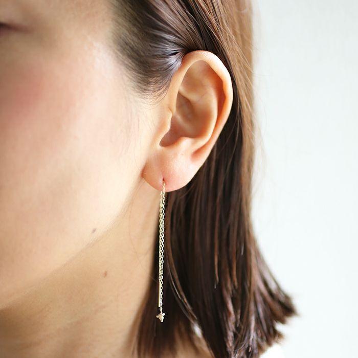 【ジャムホームメイド(JAMHOMEMADE)】O型 アメリカン チェーン ピアス NEW TYPE (血液型) - K10イエローゴールド / 両耳