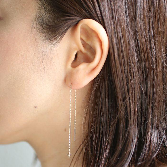 【ジャムホームメイド(JAMHOMEMADE)】B型 アメリカン チェーン ピアス NEW TYPE (血液型) - K10イエローゴールド / 両耳