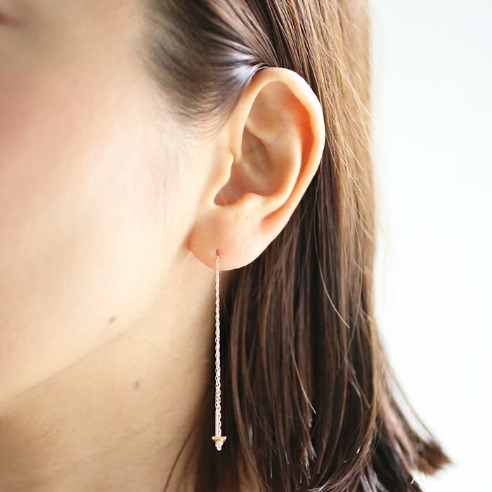 ピアス / A型 アメリカンチェーンピアス -NEW TYPE- / 両耳 レディース 十金 K10 血液型 アクセサリー 人気 ブランド おすすめ 誕生日 ギフト プレゼント 大ぶり