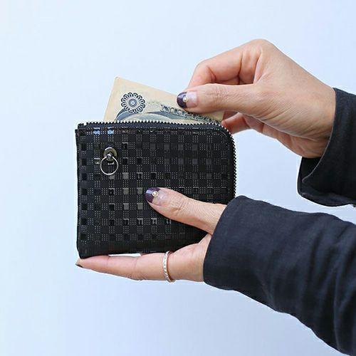 【ジャムホームメイド(JAMHOMEMADE)】印傳 - 印伝屋 3月 誕生石  二つ折り財布 小銭入れ L字ファスナー チェック柄