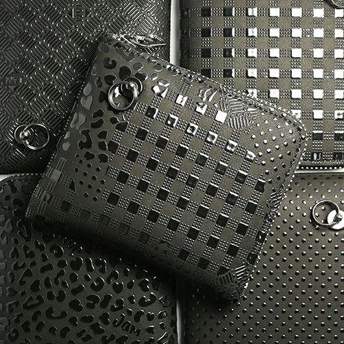 【ジャムホームメイド(JAMHOMEMADE)】印傳 - 印伝屋 二つ折り財布 小銭入れ L字ファスナー チェック柄