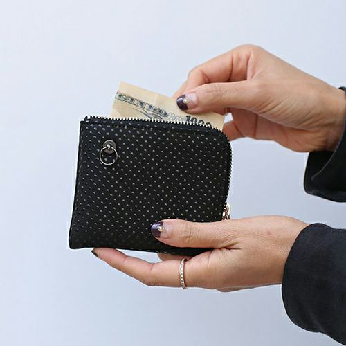 【ジャムホームメイド(JAMHOMEMADE)】印傳 - 印伝屋 二つ折り財布 小銭入れ L字ファスナー ドット柄