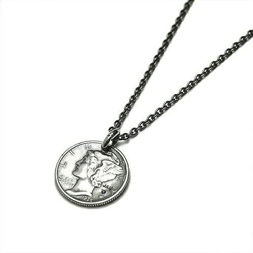 【ジャムホームメイド(JAMHOMEMADE)】9月 誕生石 コイン ネックレス ヴィンテージ マーキュリーコイン - シルバー
