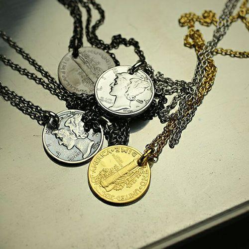 【ジャムホームメイド(JAMHOMEMADE)】7月 誕生石 コイン ネックレス ヴィンテージ マーキュリーコイン - シルバー