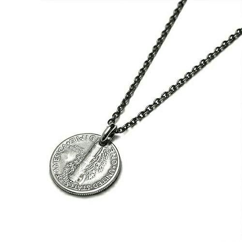 【ジャムホームメイド(JAMHOMEMADE)】5月 誕生石 コイン ネックレス ヴィンテージ マーキュリーコイン - シルバー