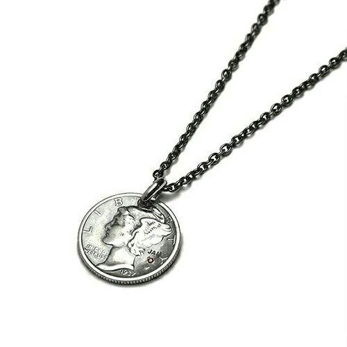 【ジャムホームメイド(JAMHOMEMADE)】1月 誕生石 コイン ネックレス ヴィンテージ マーキュリーコイン - シルバー