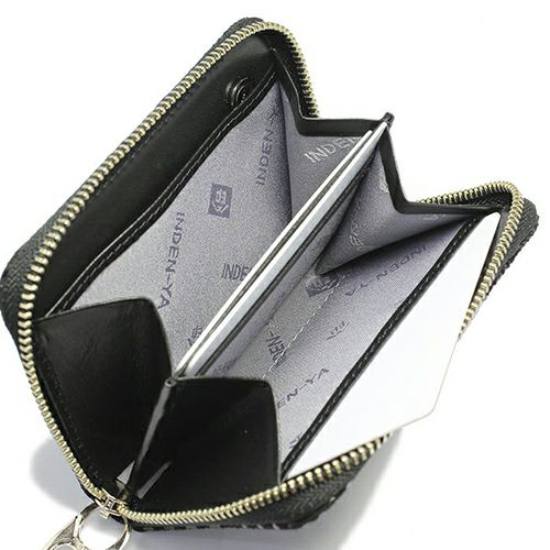 【ジャムホームメイド(JAMHOMEMADE)】印傳 - 印伝屋 2月 誕生石   ラウンドファスナー 三つ折り財布 レオパード柄 / 小銭入れ・ミニ財布