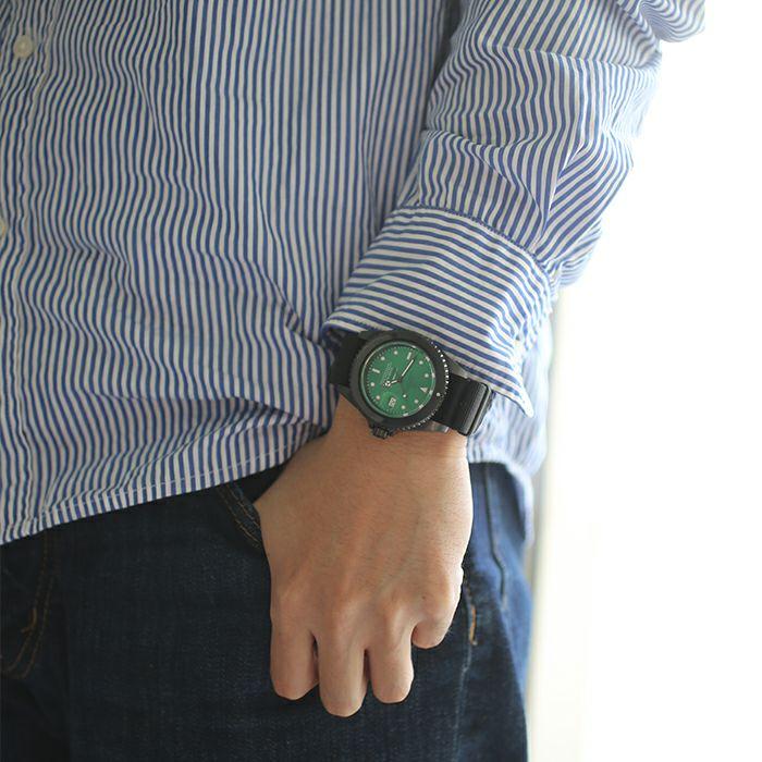 腕時計 / エメラルドジャムウォッチ NATO -BLACK- メンズ ロレックス  グリーン サブマリーナ プレゼント ブラック  誕生石 5月 クォーツ 10気圧 アナログ 日付表示 生活防水 20mm