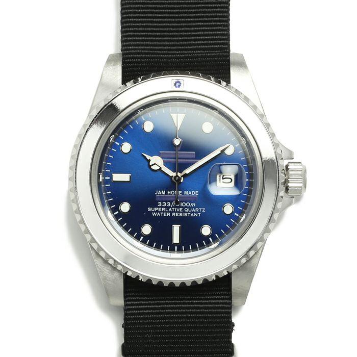 腕時計 / サファイアジャムウォッチ NATO -SILVER-メンズ ロレックス  ブルー サブマリーナ プレゼント シルバー  誕生石 5月 クォーツ 10気圧 アナログ 日付表示 生活防水 20mm