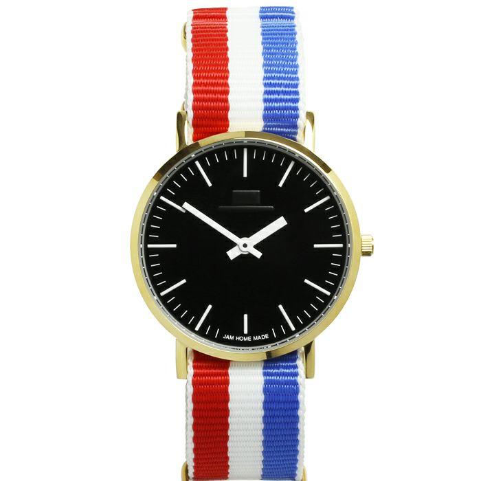 腕時計 / ジャムウォッチ TYPE-3 ゴールド/ブラック -NATOベルト(トリコロール)-・ペアウォッチ メンズ レディース ユニセックス 生活防水 シンプル ミニマム DW ダニエルウェリントン プレゼント ブランド シェフィールド ヨーク ぺティート ダラム お揃い