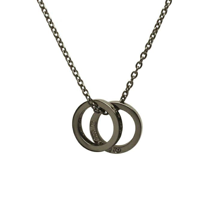 ネックレス / フラットダブルダイヤモンドネックレス -BLACK- メンズ レディース ペア シルバー 人気 ブランド おすすめ ギフト プレゼント 誕生日 シンプル 2連