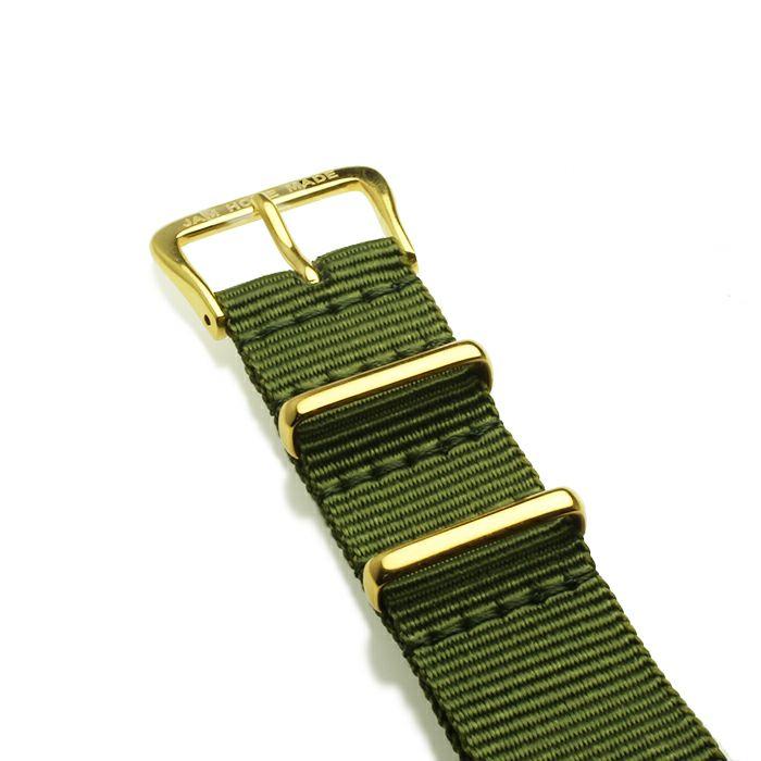 腕時計 / ジャムウォッチ TYPE-3 ゴールド/ブラック -NATOベルト(オリーブ)-・ペアウォッチ メンズ レディース ユニセックス 生活防水 シンプル ミニマム DW ダニエルウェリントン プレゼント ブランド シェフィールド ヨーク ぺティート ダラム お揃い