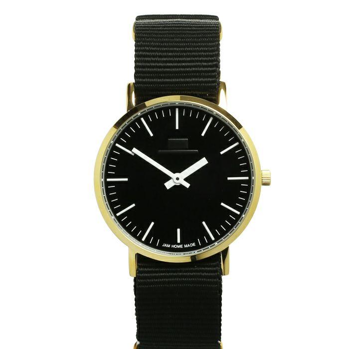 【ジャムホームメイド(JAMHOMEMADE)】ジャムウォッチ タイプ3 ゴールド/ブラック -NATOベルト(ブラック)- / 腕時計・ペアウォッチ