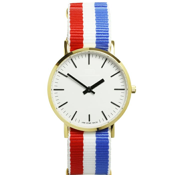 腕時計 / ジャムウォッチ TYPE-3 ゴールド/ホワイト -NATOベルト(トリコロール)-・ペアウォッチ メンズ レディース ユニセックス 生活防水 シンプル ミニマム DW ダニエルウェリントン プレゼント ブランド シェフィールド ヨーク ぺティート ダラム お揃い