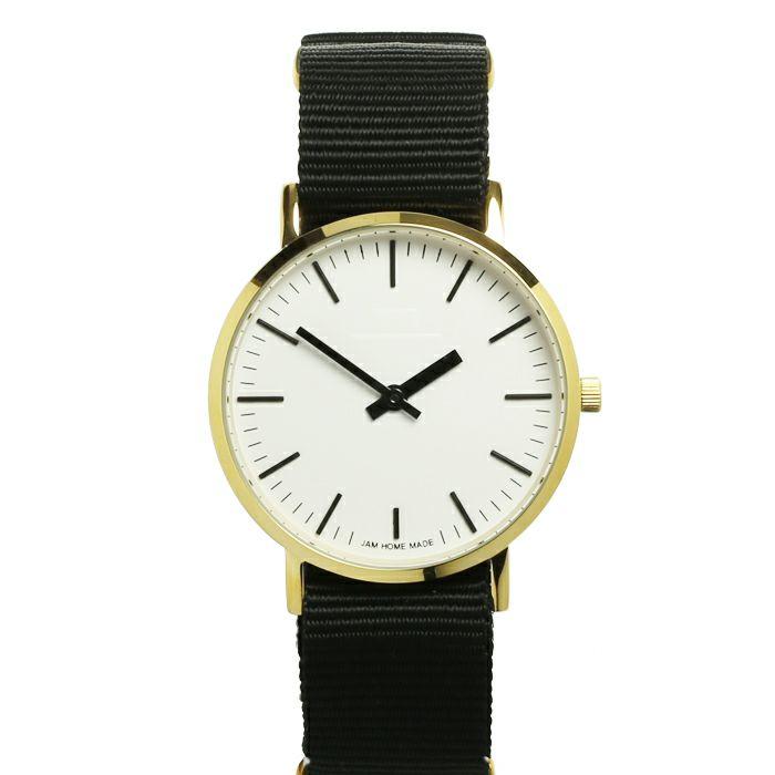 腕時計 / ジャムウォッチ TYPE-3 ゴールド/ホワイト -NATOベルト(ブラック)-・ペアウォッチ メンズ レディース ユニセックス 生活防水 シンプル ミニマム DW ダニエルウェリントン プレゼント ブランド シェフィールド ヨーク ぺティート ダラム お揃い
