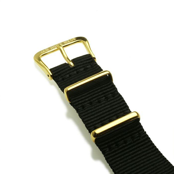【ジャムホームメイド(JAMHOMEMADE)】ジャムウォッチ タイプ3 ゴールド/ホワイト -NATOベルト(ブラック)- / 腕時計・ペアウォッチ