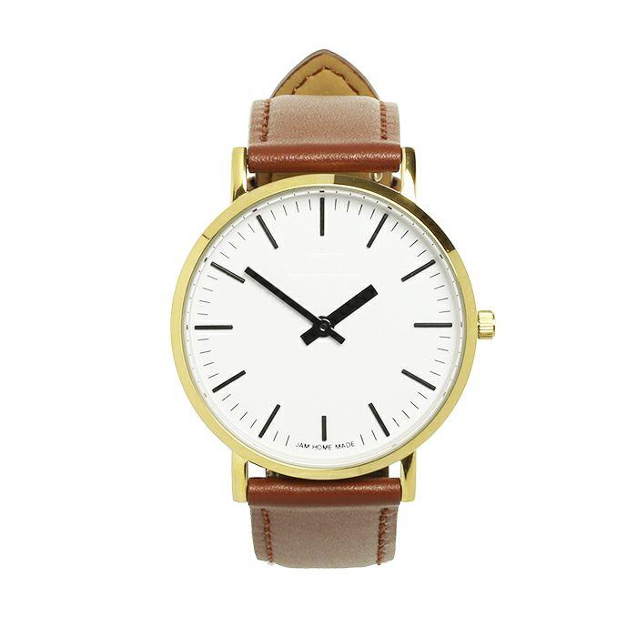 腕時計 / ジャムウォッチ TYPE-3 ゴールド/ホワイト -レザーベルト(ブラウン)-・ペアウォッチ メンズ レディース ユニセックス 生活防水 シンプル ミニマム DW ダニエルウェリントン プレゼント ブランド シェフィールド ヨーク ぺティート ダラム お揃い