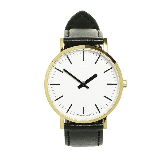 腕時計 / ジャムウォッチ TYPE-3 ゴールド/ホワイト -レザーベルト(ブラック)-・ペアウォッチ メンズ レディース ユニセックス 生活防水 シンプル ミニマム DW ダニエルウェリントン プレゼント ブランド シェフィールド ヨーク ぺティート ダラム お揃い
