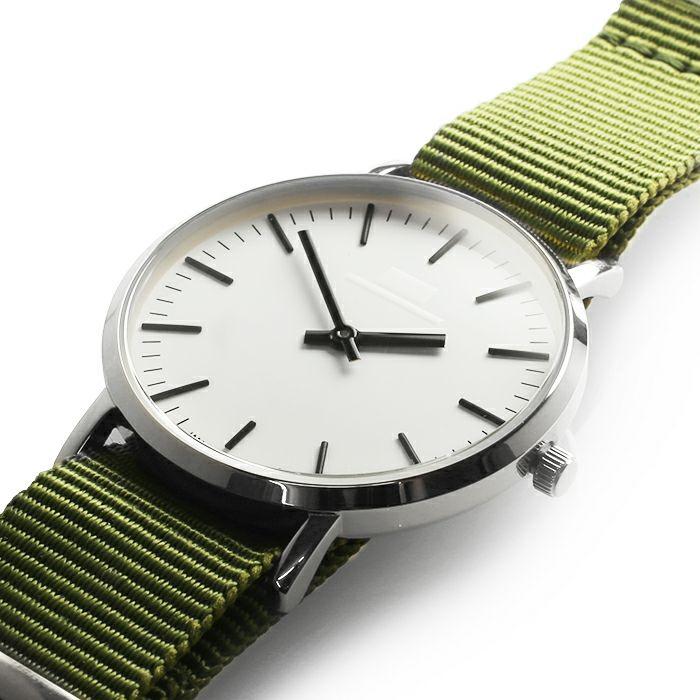 腕時計 / ジャムウォッチ TYPE-3 シルバー/ホワイト -NATOベルト(オリーブ)-・ペアウォッチ メンズ レディース ユニセックス 生活防水 シンプル ミニマム DW ダニエルウェリントン プレゼント ブランド シェフィールド ヨーク ぺティート ダラム お揃い
