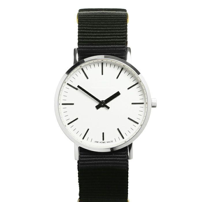 腕時計 / ジャムウォッチ TYPE-3 シルバー/ホワイト -NATOベルト(ブラック)-・ペアウォッチ メンズ レディース ユニセックス 生活防水 シンプル ミニマム DW ダニエルウェリントン プレゼント ブランド シェフィールド ヨーク ぺティート ダラム お揃い