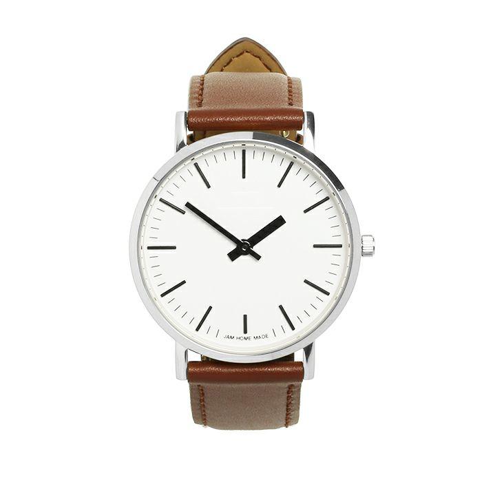 【ジャムホームメイド(JAMHOMEMADE)】ジャムウォッチ タイプ3 シルバー/ホワイト -レザーベルト(ブラウン)- / 腕時計・ペアウォッチ