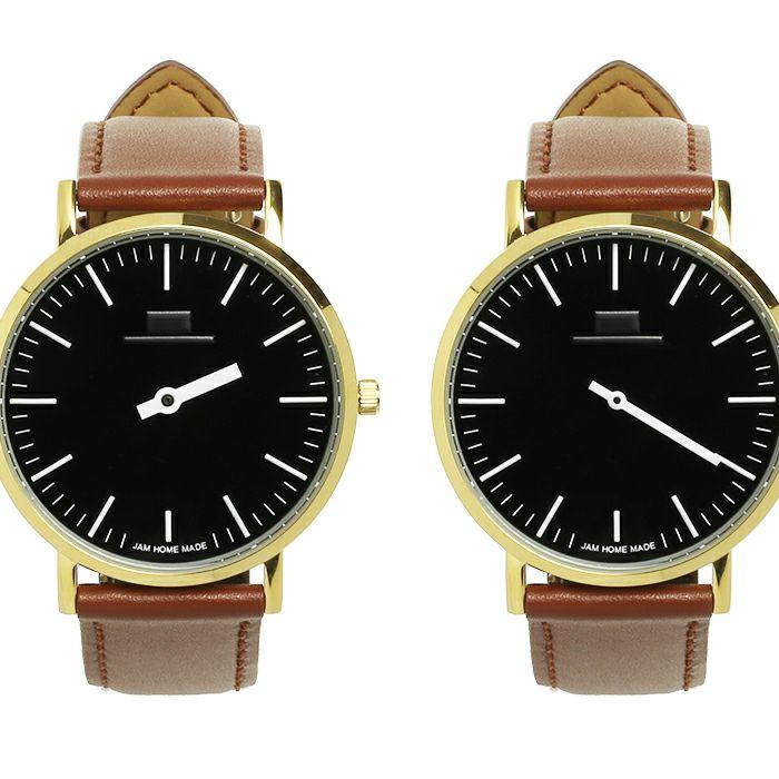 ジャムウォッチ TYPE-3 PAIR ゴールド/ブラック -レザーベルト(ブラウン)- / 腕時計・ペアウォッチ