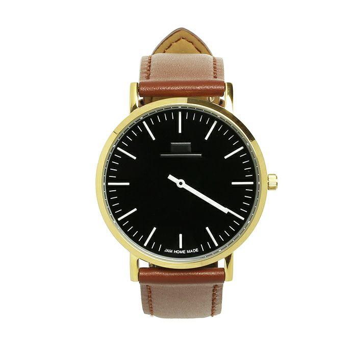腕時計 / ジャムウォッチ TYPE-3 PAIR ゴールド/ブラック -レザーベルト(ブラウン)-・ペアウォッチ メンズ レディース ユニセックス 生活防水 シンプル ミニマム DW ダニエルウェリントン プレゼント ブランド シェフィールド ヨーク ぺティート ダラム お揃い