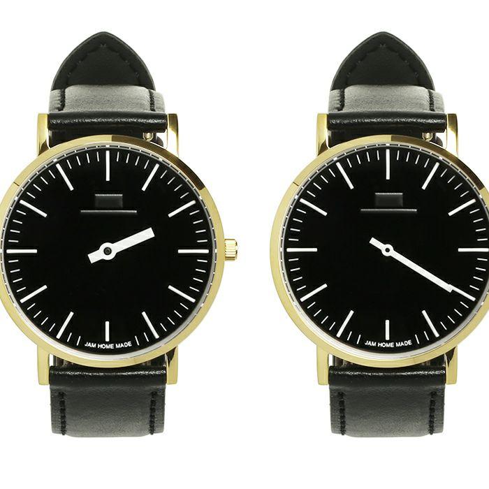 ジャムウォッチ TYPE-3 PAIR ゴールド/ブラック -レザーベルト(ブラック)- / 腕時計・ペアウォッチ