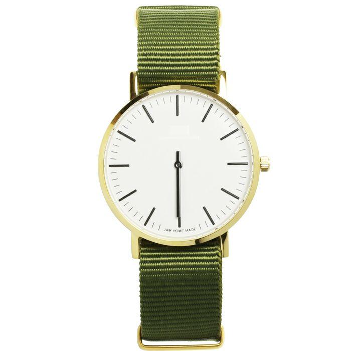 腕時計 / ジャムウォッチ TYPE-3 PAIR ゴールド/ホワイト -NATOベルト(オリーブ)-・ペアウォッチ メンズ レディース ユニセックス 生活防水 シンプル ミニマム DW ダニエルウェリントン プレゼント ブランド お揃い